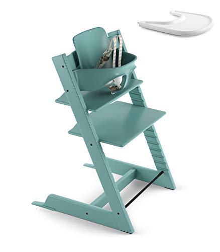 Stokke 2019 Tripp Trapp Aqua Blue High Chair & White Tray Bundle