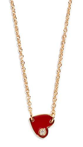 Jennifer Zeuner Jewelry Women's Mia Mini Enamel Necklace, Yellow Gold/Red, One ()