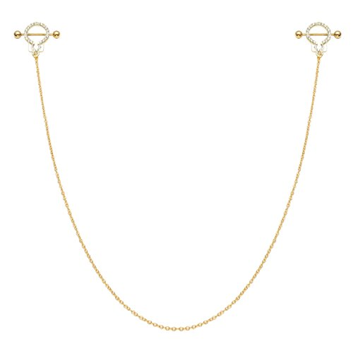 BOPREINA Pink Hearts Handcrafted Dangle Nipple Rings Nipple Chain Barbell 14G 5/8