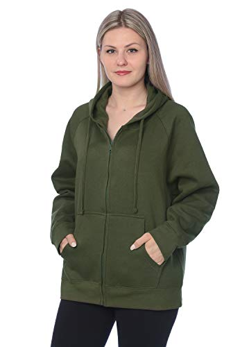 Womens Sweatshirt Plus Size Heavyweight Active Fleece Full Zip-Up Hoodie WF03_Y18 Olive Green 3X
