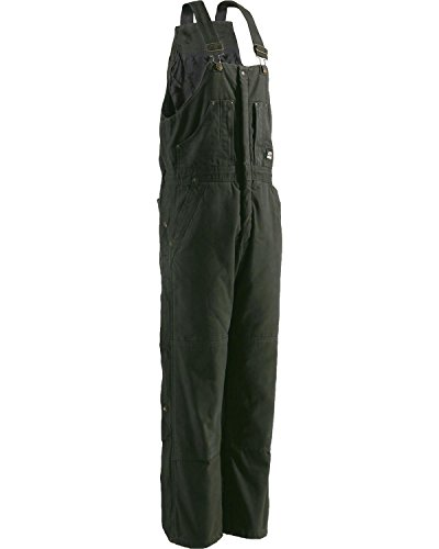 Berne Men's Original Washed Insulated Bib Overalls Olive Green (Cotton Insulated Overalls)