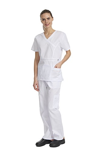 Trim Shopper (Denice Women's Scrub Sets/Utility Trim/Multiple Pockets/Medical Scrubs 1056 (X-Large, White/White))
