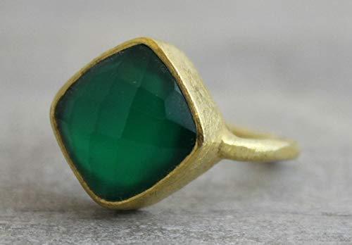 Kissenschliff Gr/ünen Onyx Gold Plated Sterling Silber Ring US-Gr/ö/ße 7 Diameter 17.3