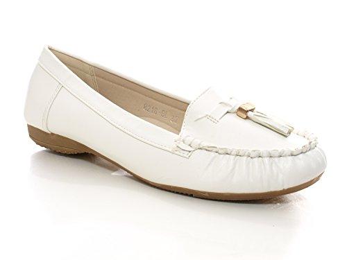 Damen Mokassins Weiß # 8218