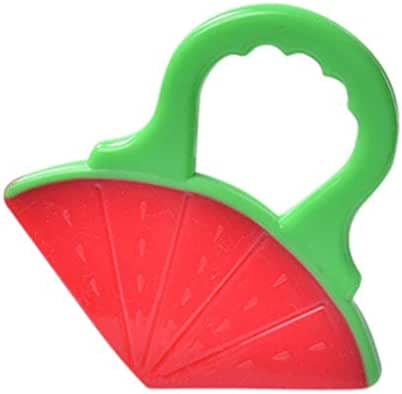 MSOO Kid Toddlers Infants Baby Teething Toys Soft Silicone Fruit Teether Holder (B)