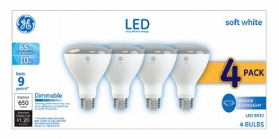 GE 65 Watt Equivalent Indoor Dimmable Soft White BR30 Flood Light Bulbs 4-Pack