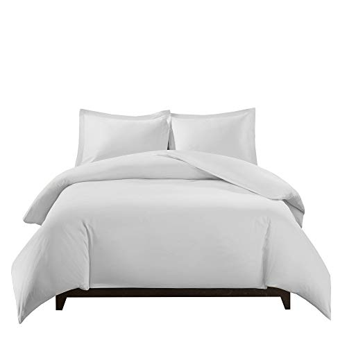 Traditions Comforter Set - Royal Tradition 100 Percent Bamboo Viscose Full/Queen 3PC Duvet Cover Set, White, Super Soft Comforter Covers