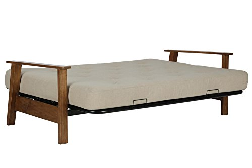 DHP Bergen Wood Arm and Metal Futon Frame with 6-inch Coil Mattress, Mid Century Design, Converts to Full Size Bed - Tan Linen