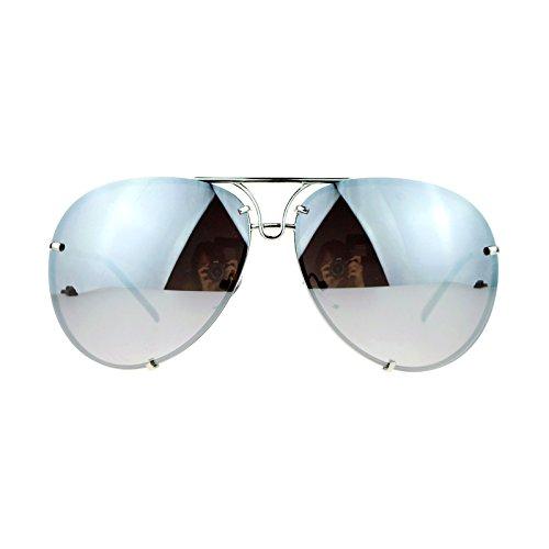 SA106 Rimless Retro Vintage Style Oversize Mirror Lens Aviator Sunglasses Silver Mirror