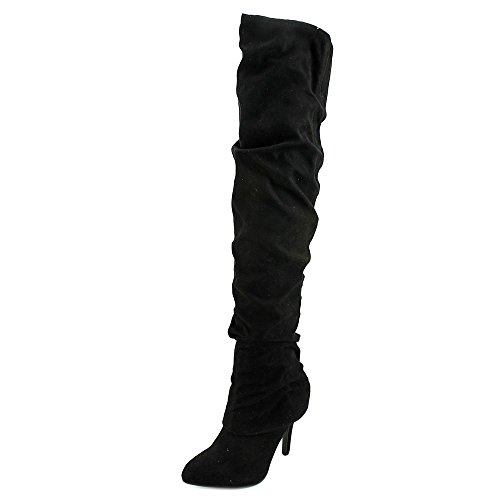 Kandi True Black Fashion Over Toe Boots Womens Pointed Nina Knee an6qwf5qS