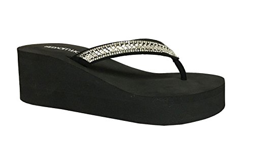 Jewel Thong (Redvolution New Women's Bling Platforms Shoe T-Strap Wedge Jewel Sandals Flip Flops (8, GEM [Black]))