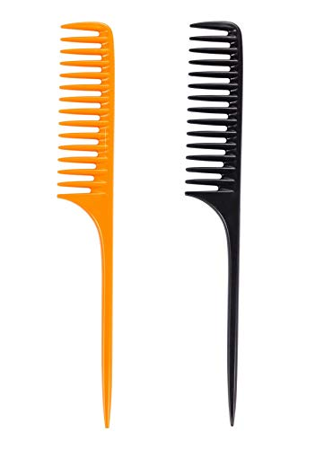 - Louise Maelys 2pcs Wide Tooth Tail Comb for Curly Hair Styling Detangle Hair Combs Black and Yellow