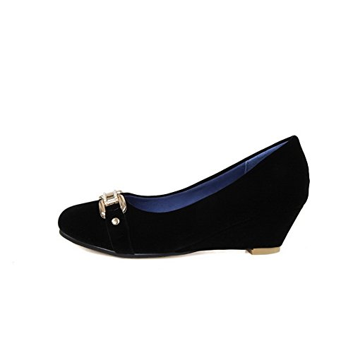 Closed Solid Heels Frosted Shoes Toe On Round Pumps AmoonyFashion Womens Kitten Black Pull O5q8COw