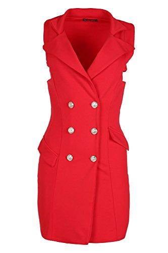 Womens Ladies Plain Golden Button Tuxedo Wrap Coat Collar a Line Dress Cardigan