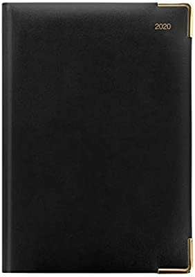 Letts 2020 Classic Daily Planner with Gold Corners, Black, 8.25 x 5.875 Inches (C12XBK-20)