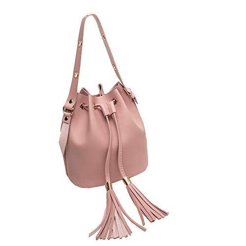 - Londony❀♪ Drawstring Bucket Bags, Bucket Bag for Women Crossbody Purse and Shoulder Bag Suede Tote Handbags Pink