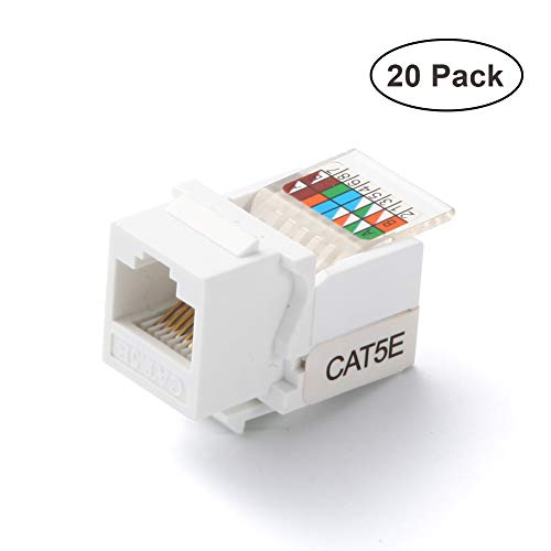 RJ45 CAT5e Tool-less No Punch Down Tool Required Gold Plated Keystone Jack, 10 GB Ethernet Cable Patch Panel Wall Plate Standard Keystone Port, with Color Coded Wiring Schema Snap In Stand(20 Pack)