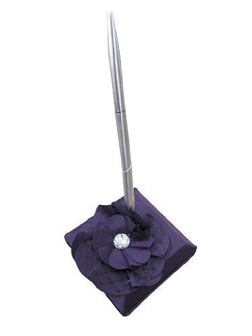 Hortense B. Hewitt Wedding Accessories Floral Fantasy Collection Pen Set, Eggplant Purple - Silver Wedding Collection