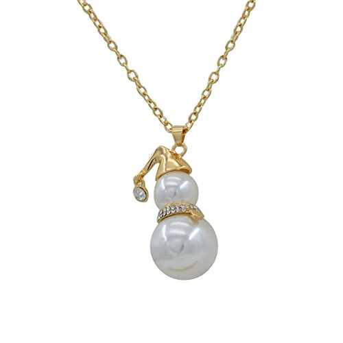 Fashionable Necklaces,RTYou A Long Paragraph Sweater Chain Diamond Pearl Snowman Pendant Necklace (Gold)