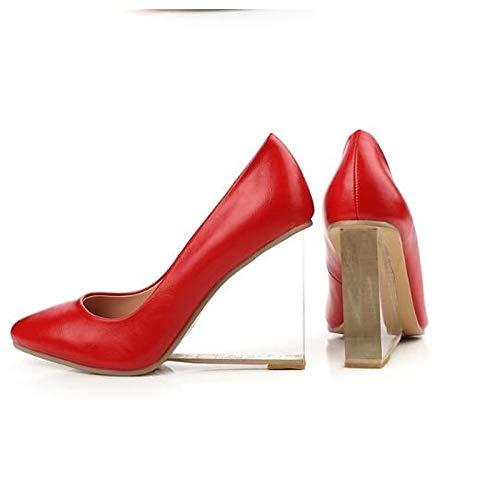 Rouge ZHZNVX Chaussures Femme Nappa Leather Spring Escarpins Basic Pump Heel Wedge Heel blanc noir rouge 38.5 EU