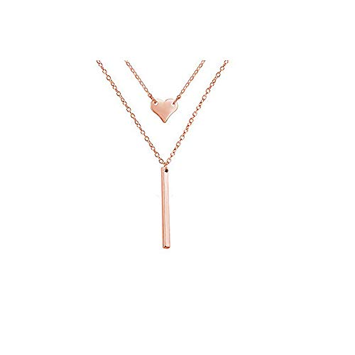 Dcfywl731 Punk Simple Style Gold/Silver Plated Lightning Long Exaggerated Square Geometric Stick Drop Dangle Earring for Women Jewelry (Rose Gold Heart bar Necklace) ()