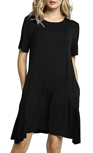 Women's Afibi Loose Swing Short Pockets Dresses T Casual Dress Sleeve Shirt Black Sqqnwdr4R
