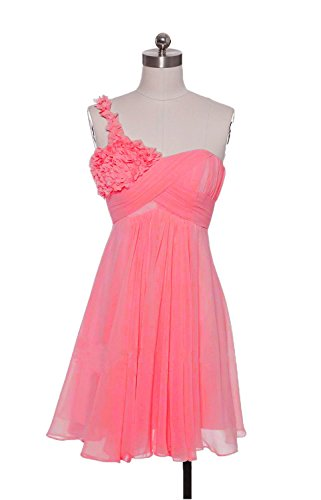 ALfany Flower One-Shoulder Prom Dress Ruffles Bridesmaids Gowns ALF065CL-US10