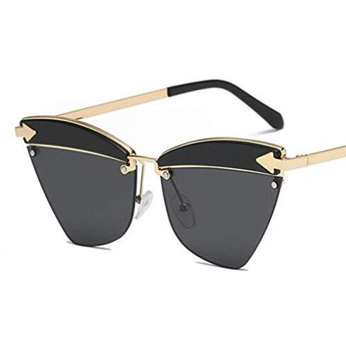 AAMOUSE Sunglasses Sadie Sun Eye Cat Black Metal Mirrored Heart Glasses Tortoise Golden Frame Sunglass Men Fashion Glasses ()