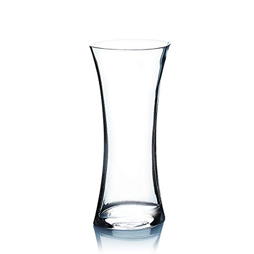 WGV Clear Concaved Gathering Vase with Flared Oval Shape, 4.5 by 3.6 by 10-Inch