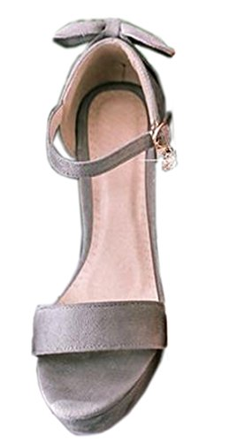 VECJUNIA Ladies Platform Chunky Heel Sandals Ankle Strap Shoes Grey 7.5 mWGDi7ekA