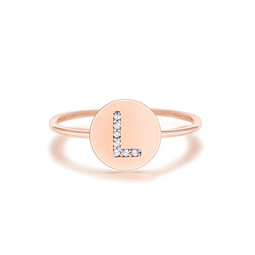 (PAVOI 14K Rose Gold Plated Initial Ring Stackable Rings for Women | Fashion Rings - L Ring)