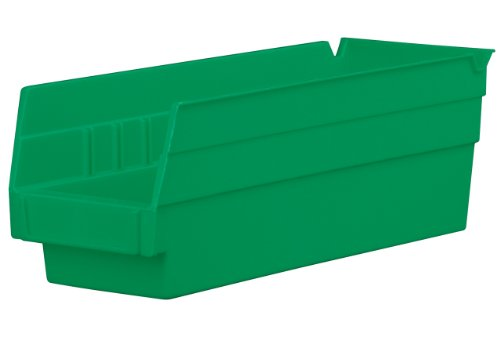 Akro-Mils 30120 12-Inch by 4-Inch by 4-Inch Plastic Nesting Shelf Bin Box, Green, Case of 24 ()