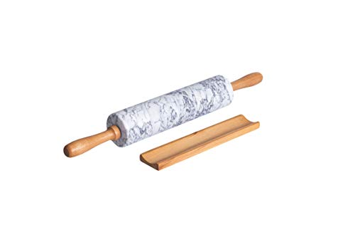 "COZYMAT Marble Rolling Pin with Wood Stand for Fondant/Dough/Baking, Heavy and Solid Stone, White, 18 Inch, 10"" long barrel"