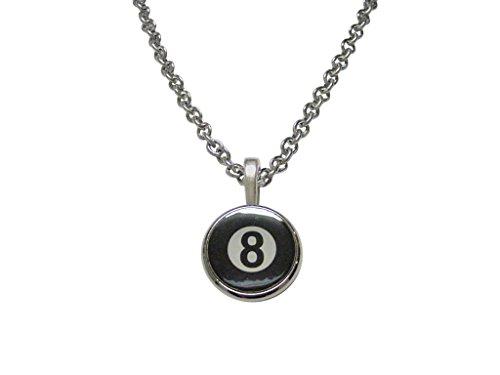 Flat Eight Ball Billiards Pendant Necklace -