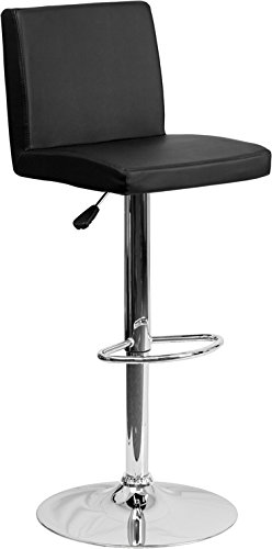 Flash Furniture Contemporary Vinyl Barstool with Chrome Base, 14'', Black by Flash Furniture