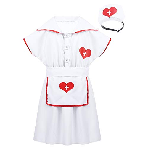 Alvivi Kids Boys Girls Lab Coat Doctor Uniform Halloween Outfit Fancy Dress up Costume with Medical Kit (4-6, White Nurse Dress) -