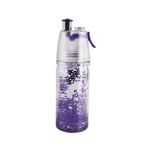 Fine 350ml Portable Sport Water Bottle,Clear Plastic Spray-Head Cup Outdoor Spray-Head Leak-Proof Spray Cup for Sports School Cycling Camping Hiking (Purple)