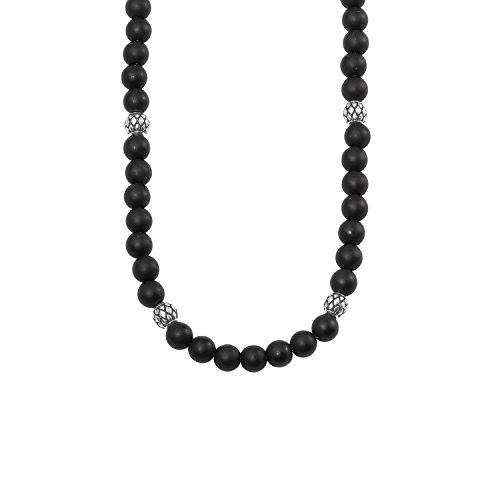 s.Oliver Herren-Halskette Edelstahl Onyx schwarz matt längenverstellbar 47+3cm