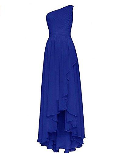 Robes De Demoiselle D'honneur En Mousseline De Soie Longue Des Femmes De Beauté Ak Une Épaule Robe De Bal Salut-lo Bleu Royal