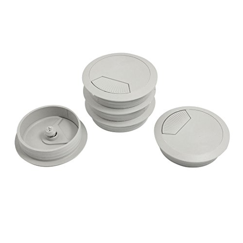 uxcell Plastic Computer Desk Round Grommet Cable Hole Covers 60mm Dia 5 Pcs Light Gray