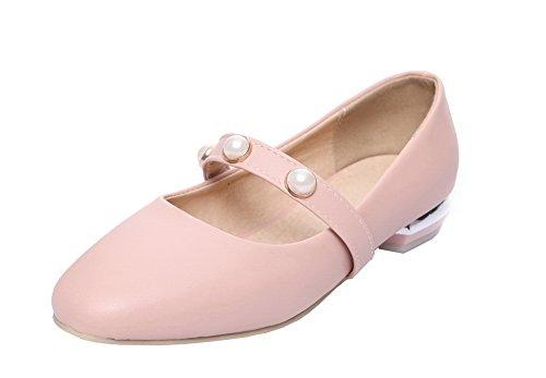 Amoonyfashion Dames Pu Ronde Gesloten Neus Lage Hakken Stevige Pumps-schoenen Roze