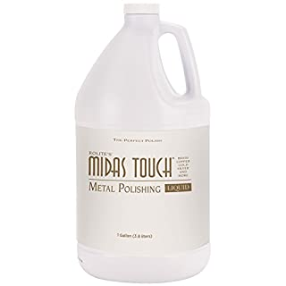 Rolite's Midas Touch Metal Polishing Liquid (1gallon) with Jewelers Rouge for Gold, Brass, Copper, Bronze, Platinum, Pewter, Sterling Silver