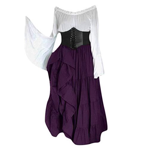 Sherostore ♡ Women's Renaissance Medieval Costumes Dress Trumpet Sleeves Gothic Retro Gown Victorian Costume Dress Purple