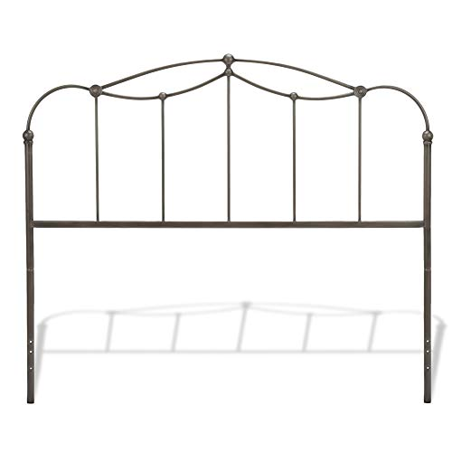 (Fashion Bed Group Affinity Metal Headboard Panel with Straight Spindles and Detailed Castings, Blackened Taupe Finish,)