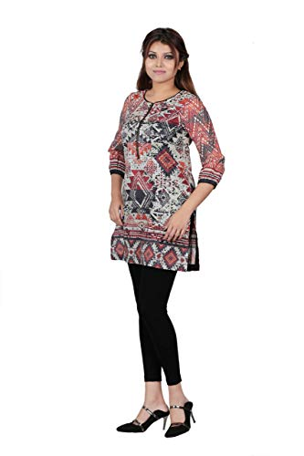 YELLOW Round Neck Aztec Pattern Digitally Printed Kurti Ready to wear