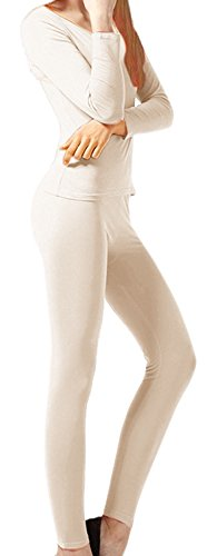 Peach Couture Womens Microfleece Ultimate Warmth Comfort Fit Thermal 2 Piece Set (Beige Small)
