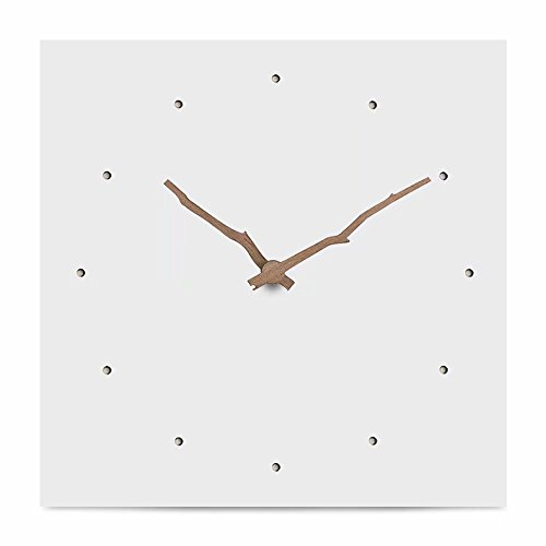 FlorLife Unique MDF Wooden Wall Clocks Without Noise - Quartz Sweep - 12 inch Square No Frame Battery Operated Decorative Clock - White Face and Walnut Pointer Easy to Read by FlorLife