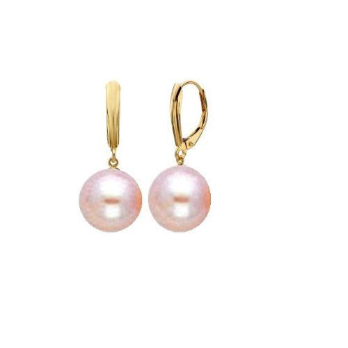 14k-Round-Pink-High-Luster-Cultured-Pearl-Leverback-Earring-Holiday-Gift
