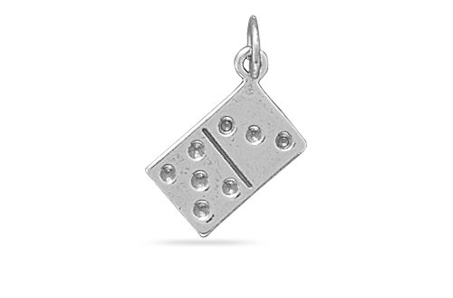 (Reversible Domino Charm 21mm X 8mm Sterling Silver Domino Charm)