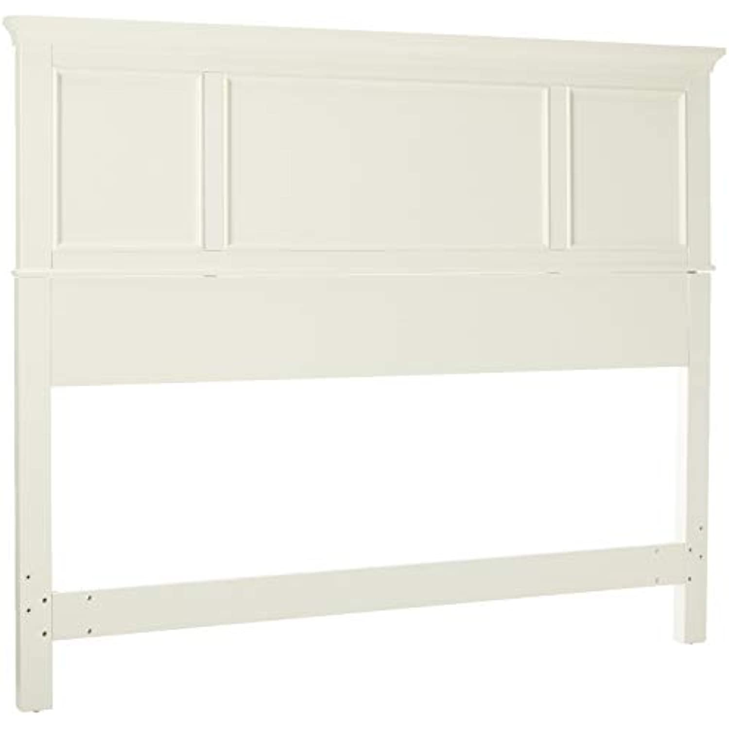 Home Styles Naples White Queen Headboard with Mahogany Wood Solids, Brush Stroke Finish, Raised Panel Design, and Rich White Finish